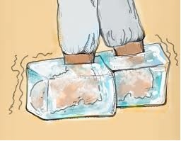 Feet in Ice Cubes