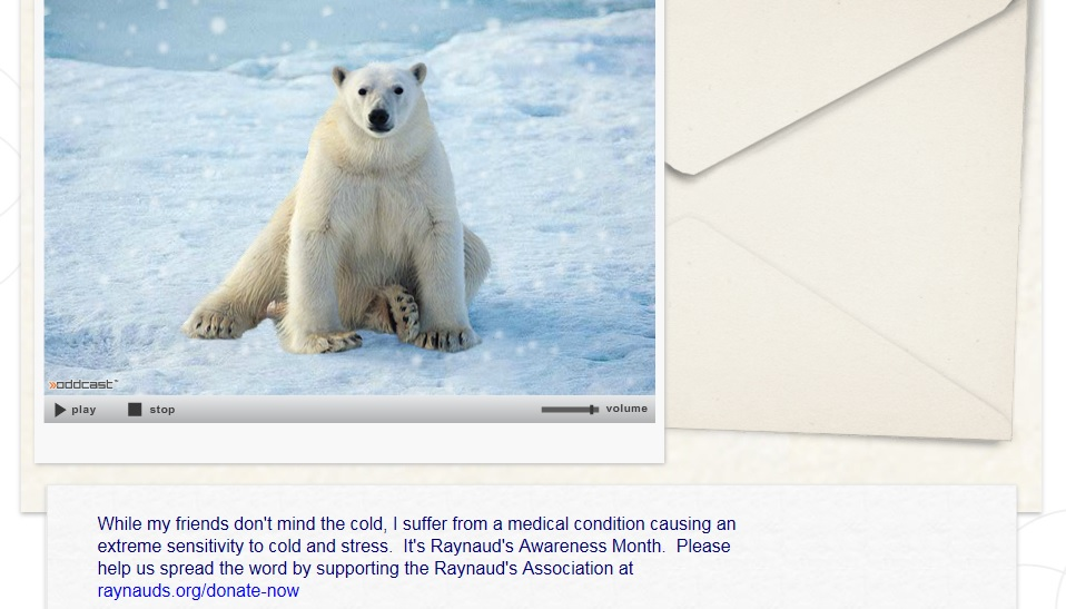 Polar Bear Card - Raynaud's Awareness Month