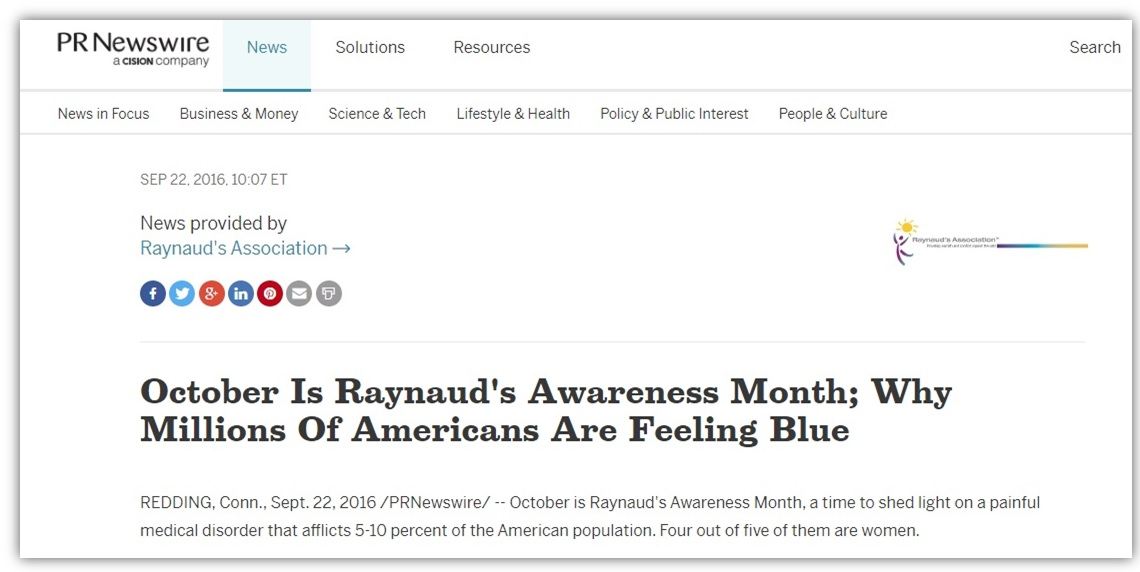 Raynaud's Awareness Month Press Release
